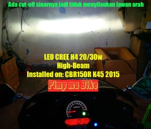 LED Cree Universal 20-30w_installed on CBR K45, cut off high beam