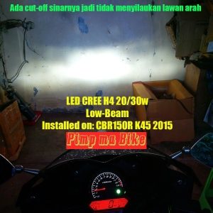 LED Cree Universal 20-30w_installed on CBR K45, cut off low beam