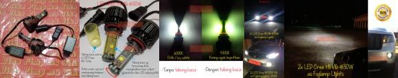 Lampu LED H11 30W DUAL Lights V16 Turbo, bisa warna kuning (4300K) & putih (6000K) dlm 1 lampu yg sama! Foglamp LED Cree mobil bersoket H11 ini termasuk salah 1 LED foglamp yg paling terang di pasaran Indonesia. Garansi 1 tahun. PRICE: Rp900.000 sepasang (2 pcs).