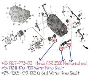 Contoh Diagram spareparts CBR 250R 11-14 bagian Right Crankcase, posisi seal mechanical dan water pump shaft. Beginilah caranya jika kita ingin memesan suatu produk/inden parts CBU, pakai patokan diagram ori-nya dan nomor parts-nya, jadi akurat bro!